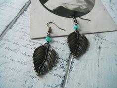 bohemian ear rings leaf ear rings dangle ear rings antique tone leaf turquoise bead boho ear rings boho jewelry by ShabbyRoad on Etsy