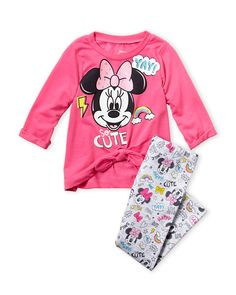 Minnie Mouse (Infant Girls) Two-Piece Minnie Bow Top & Leggings Set Minnie Bow, Minnie Mouse, Bow Tops, Tops For Leggings, Baby Disney, Baby Girl Fashion, Leggings Fashion, Graphic Sweatshirt, Bows