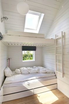 A setup that saves a lot of space and works well for visiting crowds, bunks (with under the bed storage) are another Nordic cottage staple: See 24 Built-In Bunks for Summer Sleepovers. This Danish summer house was designed by Norwegian JVA Architects via Bunk Beds Built In, Bunk Rooms, Bedrooms, Attic Renovation, Attic Remodel, Little Houses, Small Houses, My Dream Home, Small Spaces
