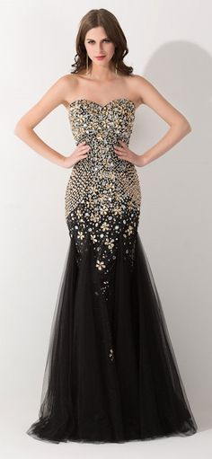 Black Tulle Mermaid 2015 Evening Dress, Sparkly Charming Prom Dress