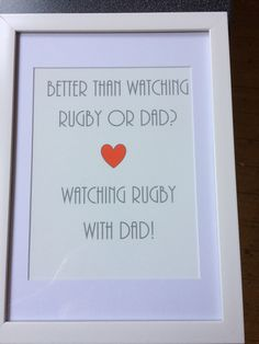 Watching rugby and Dad print Rugby, Dads, Unique Jewelry, Frame, Handmade Gifts, Prints, Etsy, Vintage, Decor