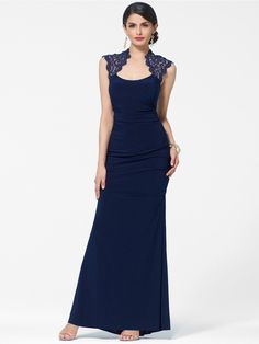 Metalic Lace Cap Sleeve Ruched Gown - Gowns - Dresses