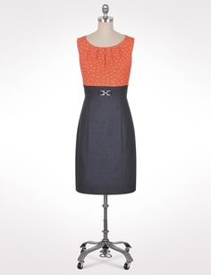 Misses | Dresses | Work Dresses | Polkadot And Denim Dress | dressbarn