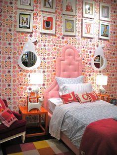 Jonathan Adler: Fun girls bedroom with Jonathan Adler Sun Wallpaper and Jonathan Adler Woodhouse Twin ...