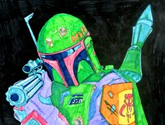 Boba Fett / Star Wars Episode V / The Empire Strikes Back (2015) - Drawing by Joost van Haaren