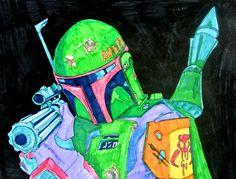 Boba Fett / Star Wars Episode V / The Empire Strikes Back (2015) - Drawing by Joost van Haaren