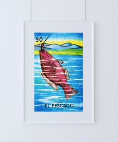 Loteria El Pescado Mexican Retro Illustration Art Print Vintage Giclee on Paper Canvas Poster Wall Decor  #mexican #mexico #print #homedecor #retro #art #homedecorideas #wallart #mexicanart #mexicanfolkart #loteriaprint #artprint #giclee #art #bingo #hand #handmade #print #mexicanfolkart #kitch #vintage #largegiclee #etsy #elpescado