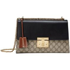 Pre-owned Gucci Padlock Gg Supreme Shoulder Bag (13,375 CNY) ❤ liked on Polyvore featuring bags, handbags, shoulder bags, black, genuine leather shoulder bag, kiss-lock handbags, real leather handbags, genuine leather purse and leather shoulder handbags