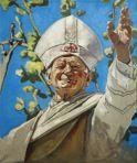 The Krasnals: Papież Jan Paweł II leworęcznie błogosławiący, 2011, canvas print, 46 x 55 cm
