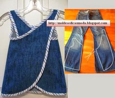 Wonderful Ideas and Tutorials to Refashion Your Old Jeans Upcycle jeans into an art smock or day apron.Upcycle jeans into an art smock or day apron. Diy Clothing, Sewing Clothes, Recycled Clothing, Clothes Crafts, Sewing For Kids, Baby Sewing, Refaçonner Jean, Jean Bag, Baby Outfits
