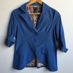Blue blazer jacket Cute blazer jacket has 2 buttons in the front, sleeve length stops at about 1 1/2 inches above my wrist, comfortable lightweight material, in great condition, dress it up or down. Wet Seal Jackets & Coats Blazers