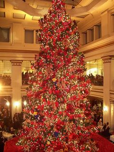 Christmas Tree - Chicago Marshall Fields store on State grateful to find this fond memory. Christmas Time Is Here, Christmas Past, Christmas Photos, All Things Christmas, Vintage Christmas, Christmas Holidays, Christmas Tree Decorations, Christmas Lights, Holiday Decor