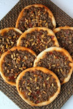 """These """"Arab pizzas"""" called lahm bi ajin (or sfiha) date back to the fifteenth century and would have appeared in the region of the Beqaa Valley in Eastern Lebanon. Lebanese Cuisine, Lebanese Recipes, Turkish Recipes, Ethnic Recipes, Arabic Recipes, Persian Recipes, Middle East Food, Middle Eastern Dishes, Middle Eastern Recipes"""