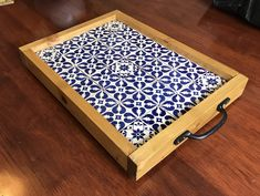 Handmade wooden tray made from redwood and finished with layer of hand made Mexican tiles. Coffee Tray, Tea Tray, Kitchen Tray, Kitchen Decor, Wooden Diy, Handmade Wooden, Morrocan Patterns, Wood Projects, Woodworking Projects