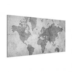 #Magnettafel - #Vintage Weltkarte II - Memoboard Quer 37cm x 78cm #Reiselust #Fernweh #Weltenbummler #homesick #globetrotter #Welt #Globus #Landkarte #Reisen #Urlaub #Weltkarte