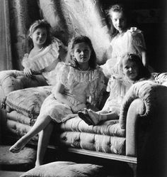 The daughters of Tsar Nicholas II in more carefree times. From left: Maria, Olga, Tatiana, and Anastasia Romanova. All would be shot and bayoneted by the Bolsheviks in 1918.