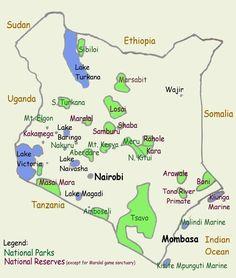 Kenya Tourist Map - I was on a 29 day safari, where I went to Nairobi, Mombasa, Tsavo East & West, Amboseli, Masi Mara, Lake Baringo, Nakuru, Mt Kenya, Meru, Samburu, Lake Nakuru, Buffalo Springs, Rift Valley, Kisumu, Kercho, Kiambethu, Naboisho,