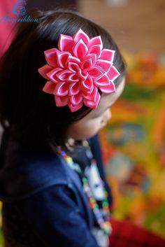 pink ribbon flowers Headband / hair clip infant por GiGiRibbon