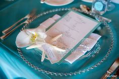 Aqua Tiffany blue place setting ... Wedding guide for brides & grooms, bridesmaids & groomsmen, parents & planners ... the how, when, where & why of wedding planning ... https://itunes.apple.com/us/app/the-gold-wedding-planner/id498112599?ls=1=8  ♥ The Gold Wedding Planner iPhone App ♥