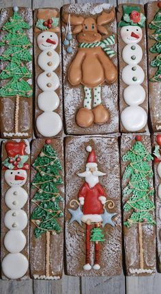 Decorated Snowman, Santa and Christmas Tree Cookies