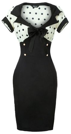 White & Black Polka Dot Wiggle Dress