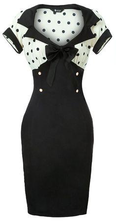 White & Black Polka Dot Wiggle Dress