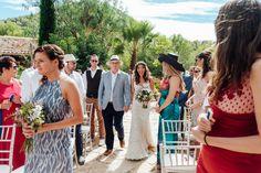 Ibiza wedding. Bride coming up the isle. Destination wedding.