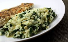 3.25 cups chicken or vegetable broth 1 cup arborio rice 1 Tbsp. butter 1 small onion, finely diced 4 cloves garlic, minced 10 oz. spinach, trimmed and chopped* 1/4 lb. gruyere cheese, shredded 1/4 cup heavy cream or milk salt and pepper