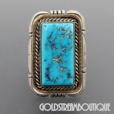 NATIVE AMERICAN VINTAGE NAVAJO STERLING SILVER TURQUOISE SOUTHWESTERN RECTANGULAR RING SIZE 5.5