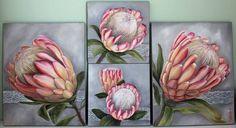 Commission piece, soft pink on a light grey background… Protea Art, Protea Flower, Australian Native Garden, Art Addiction, Canvas Art, Small Canvas, Retro Art, Ceramic Painting, Painting Inspiration