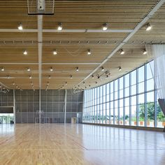 hotel arquitectura Explorations Architecture completes a gorgeous multi-purpose sports hall in Tours, France that relies on daylighting and solar power. Gymnasium Architecture, Wood Architecture, Futuristic Architecture, School Architecture, Gymnasium Outfits, Multipurpose Hall, Athletic Center, Function Hall, Timber Roof