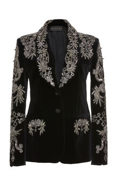 This **Dundas** Embroidered Tux features a shawl lapel, fitted tailored silhouette, and opulent silver-beaded embroidery. Blazer Fashion, Suit Fashion, Fashion Outfits, Womens Fashion, Ootd Fashion, Printed Blazer, Stage Outfits, Classy Outfits, Suits For Women