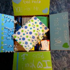 Decorate the inside flaps of the care package box.