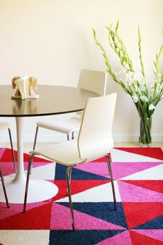 can get the carpet tile squares cut to form triangles and chevrons.  Flor company will do as part of the order--flor tile party rug.JPG
