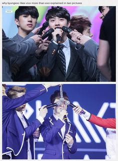 Why Kyungsoo likes Vixx more than Exo, explained in two pics ~ haha poor kyungsoo xd