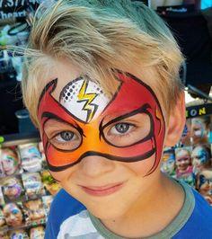 Liga just flash Diy Face Paint, Mask Face Paint, Face Painting Tips, Face Painting For Boys, Face Painting Designs, Body Painting, Boy Face, Child Face, Iron Man