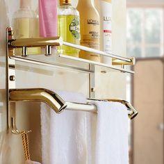 Gold Bathroom shower with towel bar corner shelf bath shower shelf corner rack gold shower holder bathroom commodity holder #Affiliate