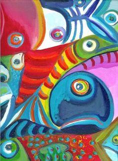 Tropical Fish Art Print of Original Painting Coastal by MangoSeed, $25.00