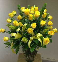 Church Flower Arrangements, Rose Arrangements, Church Flowers, Funeral Flowers, Yellow Rose Bouquet, Rose Wedding Bouquet, Yellow Flowers, Elegant Flowers, Pretty Flowers