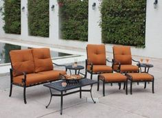 8-Piece Aluminum Deep Seating Outdoor Patio Furniture Set - Onyx/Nutmeg by Bellini. $2449.99. 8-Piece Deep Seating Patio Set - Onyx/NutmegItem #C23108This elegant set will add a fun burst of color to any outdoor decor Tables feature unique metallic weave and cutout designsSturdy, rust-proof aluminum frameFrames are finished in a hand-applied Onyx finishNutmeg cushions8-piece set includes: 1 - coffee table1 - loveseat2 - club chairs2 - ottomans2 - chair cushion...