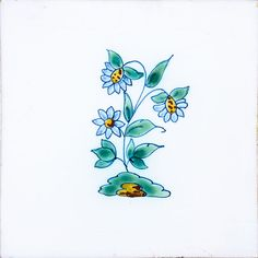 Small Flowers Poly On White Glazed Ceramic Tiles 5x5 | Country Floors of America