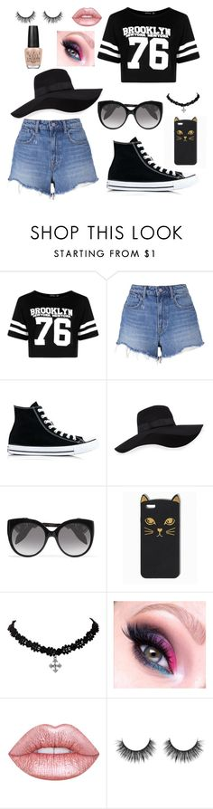 """""""to the shops"""" by rnieass on Polyvore featuring Boohoo, T By Alexander Wang, Converse, San Diego Hat Co., Alexander McQueen and OPI"""