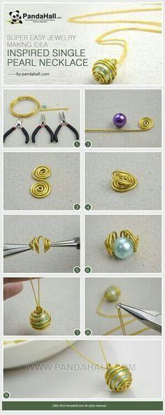 tutorial colgante perla  y alambre