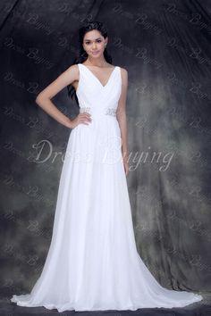 Fabulous Empire V-neck Floor-Length Chapel Anderae's Wedding Dress