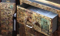 Decoupaged Ikea's cheap metal cabinet | by Kotomi_
