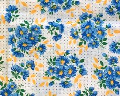 Vintage Feedsack Flour Sack Fabric 1930's 1940's Blue Yellow Quilt Patchwork Floral