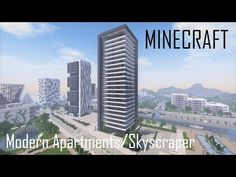 Modern Apartment Building/Skyscraper (full interior) + Download - YouTube Minecraft Mods, Minecraft Modern City, Minecraft Skyscraper, Minecraft Building Designs, Minecraft City Buildings, Minecraft Houses Survival, Easy Minecraft Houses, Minecraft Plans, Minecraft Tutorial