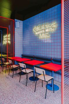 In its latest Wroclaw project – a true urban bar – local BUCK.STUDIO created a full immersion into the American street-life culture of the Life Size Games, Urban Bar, Vintage Video Games, American Diner, Mesh Screen, Fast Food Restaurant, Blue Tiles, Street Culture, Yellow Painting