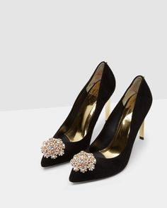 Brooch detail court shoes - Black | Footwear | Ted Baker UK