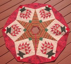 Handmade Quilted Christmas Tree Skirt With Star By QuiltedbyPeggyA